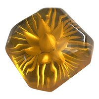 1930s Apple Juice BAKELITE Floral Reverse Carved Rounded Square Brooch Pin
