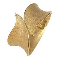 1960s TRIFARI Brushed Gold Tone Hinged Bypass Bracelet