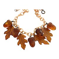 1930s Cellulose Chain Link ROOT BEER  Bakelite Acorns and Leaves Link Necklace