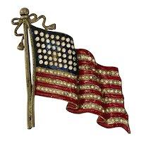 1940s Pot Metal USA American Flag Enamel 48 Rhinestone Stars Pin Brooch
