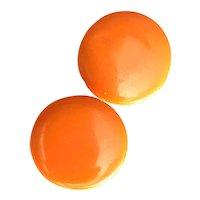 1930s Orange Bakelite Domed Disc Clip Earrings