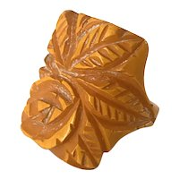 1930s Carved Butterscotch Bakelite Ring Size 5
