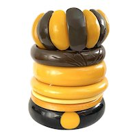 7 Seven Assorted Cream Brown and Black Bakelite Galalith and Resin Bangles Instant Collection!