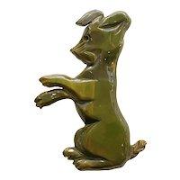 1930s Figural Green Bakelite Standing Dog Brooch Pin