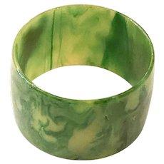Exquisite 1930 Faux Jade Green Bakelite Marbelized WIDE Bangle Bracelet