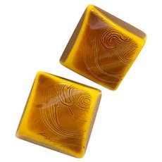 1930s Resin Washed Carved Bakelite Square Clip Earrings