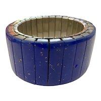 Twist-O-Flex Wide Lapis Lazuli Logs Expandable Bracelet