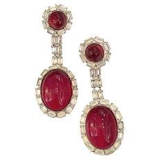 William DeLillo 1960s Faux Ruby and Diamante Lavish Glass Cabochons Clip Drop Earrings