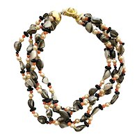 William DeLillo 1960s Multistrand Coral Mother of Pearl and Pearl Beaded Necklace