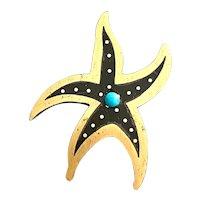 Tono Piedra Negra Mixed Metals and Onyx Dancing Star Brooch Pin