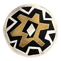 Tono Style MIxed Metals Brass Sterling Silver Onyx Mexican Modernist Brooch Pin