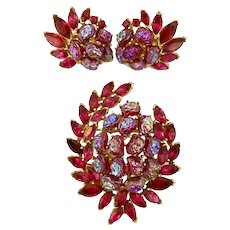 Rare Trifari  ETOILE 1950s Faux Ruby Aurora Borealis Baby Teeth and Marquise Stonework Brooch Pin Earrings Set