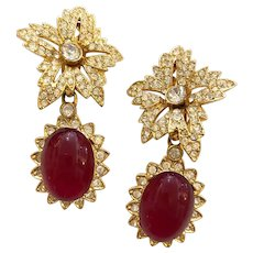1960s Kenneth Lane KJL Faux Ruby and Diamante Dramatic Drop Clip Earrings