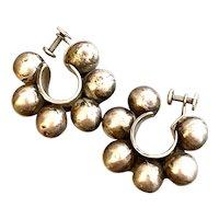 1960s Mexican Modernist Sterling Silver Ball Bearings Hoop Screwback Earrings