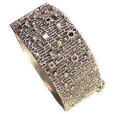 1960s Robert Larin Canadian Modernist Brutalist  Nickel Silver Pewter Lynch Pin Style Cuff Bracelet
