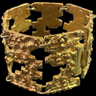 1960s Robert Larin Canadian Modernist Brutalist Gold Plated Nickel Silver Link Bracelet