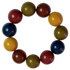 1930s Bakelite Multicolor Geometric Balls Stretch Bracelet