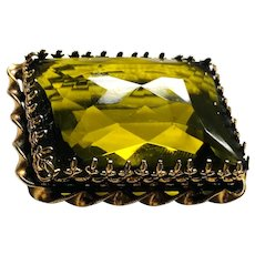 1950s Made in AUSTRIA Mammoth Faux Citrine GREEN Rectangular Brooch Pin
