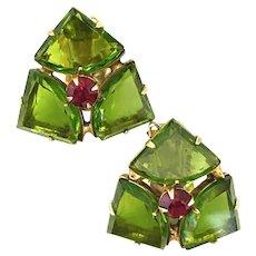 WARNER  1960s Pie Shaped Stones Faux Emerald Clip Back Earrings