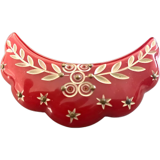 1930s Red Bakelite MOGUL Style Resin Wash Brass Studded Brooch Pin