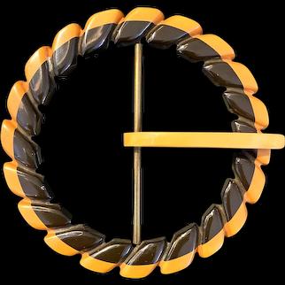 Rare 1930s Two Tone Cast Carved Black and Cream Geometric Bakelite Belt Buckle