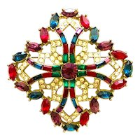 Exquisite Faux Ruby Sapphire Emerald and Paste Stylized Iron Cross Pin Brooch