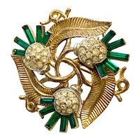 TRIFARI Classic 1950s Goldtone Diamante with Faux Emerald Baguettes Flower Brooch Pin