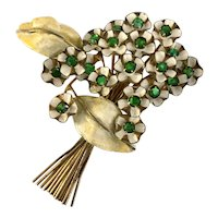 Elegant SANDOR Enameled White and Green Delicate Flower Brooch  Pin with Green Rhinestone Accents