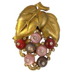 Large Unmarked Shoe Button Matte Goldtone Dress Clip