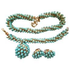 Amazing 3-Piece TRIFARI Faux Turquoise Cabochon Necklace Bracelet Earring SET