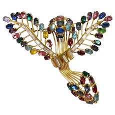 Drawn Wire French Multicolored Stylized Wing Design Brooch Pin