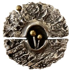 1960s Guy Vidal Canadian Modernist Brutalist Silver Pewter Circular Brooch Pin