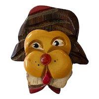 1930s Figural Bakelite Martha Sleeper Old Time Aviator Mr. Dog Brooch Pin
