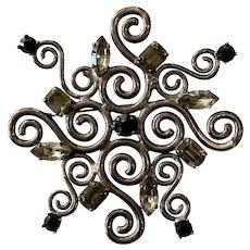 1990s Scherrer Paris Silvertone Black and White Rhinestone Coiled Brooch Pin