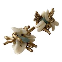 Miriam Haskell Goldtone Mother of Pearl Turquoise Converted to Pierced Earrings