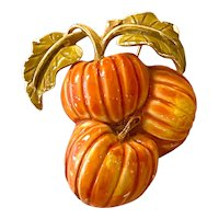 WEISS Enameled Pumpkins Pin Brooch BUY THIS NOW!
