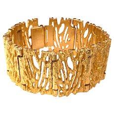 1960s Robert Larin Canadian Modernist Brutalist Gold Plated Pewter Link Bracelet