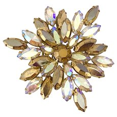Luscious Regency Gold and Silver Marquise Stone Aurora Borealis Snowflake Brooch Pin