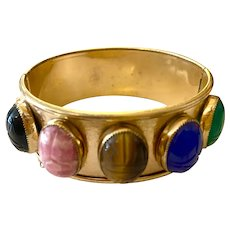 Gold Plated Hinged Bracelet Semi Precious Scarabs