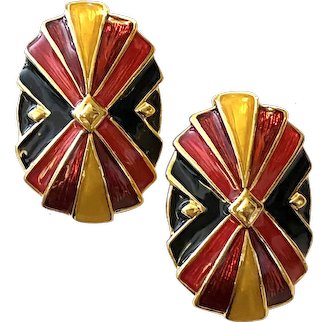 1980s Bob Mackie Bold Red Black and Gold Regal Enamel Clip Earrings