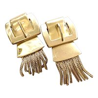Whiting and Davis Tasseled Buckle Style Clip Earrings