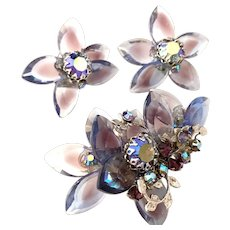 1950s DeMario Givre Glass Borealis Stonework Articulated Floral Brooch Pin Earring Set