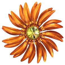 Brilliant Orange Petaled Metal Flower Pin Center Stone Rivoli Center