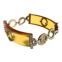 Rare 1930s Art Deco Apple Juice Bakelite and Paste Chatons Elegant Line Link Bracelet