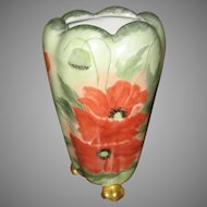 Antique PH Leonard Austrian Footed Vase W/ Hand Painted Poppies
