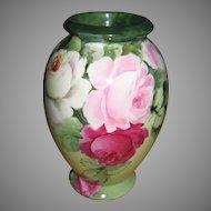 Vintage Signed Bavaria Porcelain Vase Hand Painted Roses