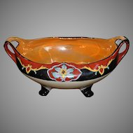 RARE Large Noritake Pierced Handle Handpainted Luster Ware Footed Bowl