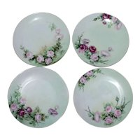 Set of 4 Hand Painted Sevres Bavaria Porcelain Decorative Floral Plates
