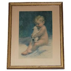 Original Bessie Pease Gutmann Child and Puppy Lithograph Circa 1918