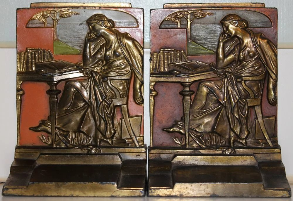 Art Deco Pompeian Bronze Co 1926 Figural Bookends